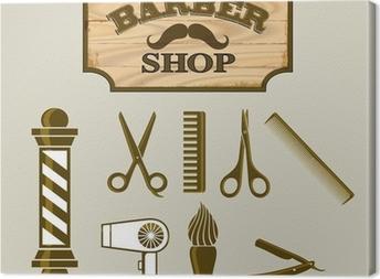 Canvastavla Barbershop eller frisör Ikoner och Sign