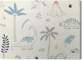 Canvastavla Barnsligt sömlöst mönster med handritad dino i skandinavisk stil. kreativ vektor barnliknande bakgrund för tyg, textilier, kläder och mer