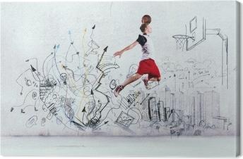 Canvastavla Basketspelare