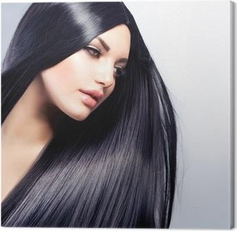 Canvastavla Beautiful Brunette Girl. Friska Långt hår