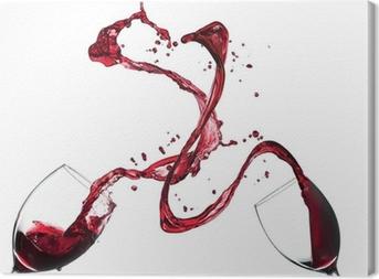 Canvastavla Begreppet rött vin stänk från glasögon på vit bakgrund