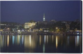 Canvastavla Belgrad på natten, huvudstad i Serbien, vy från floden Sava