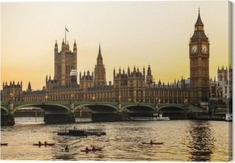 Canvastavla Big Ben Clock Tower och parlamentet hus vid City of Westminster,