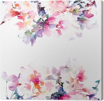 Canvastavla Blommig vattenfärg bakgrund. Rosor.