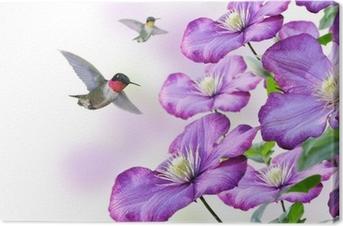 Canvastavla Blommor och kolibrier