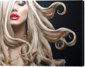 Canvastavla Blont hår. Härlig sexig blond flicka