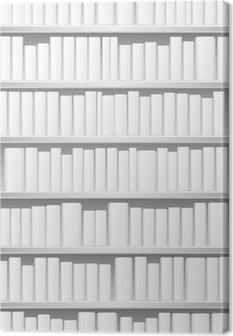 Canvastavla Bokhylla med vita böcker