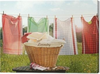 Canvastavla Bomull handdukar torkar på klädstreck