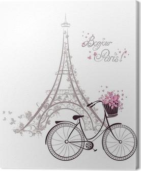 Canvastavla Bonjour Paris text med Eiffeltornet och cykel