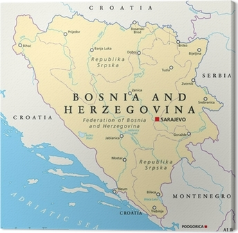 Canvastavla Bosnien och Hercegovina Political Map