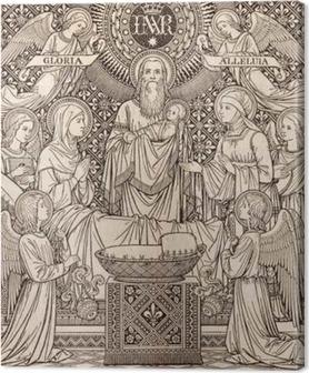 Canvastavla Bratislava, Slovakien, NOVEMBER - 21, 2016: Den litografi av presentationen i templet av den okända konstnären med initial FMS (1893) och skrivs ut av Typis Friderici Pustet.
