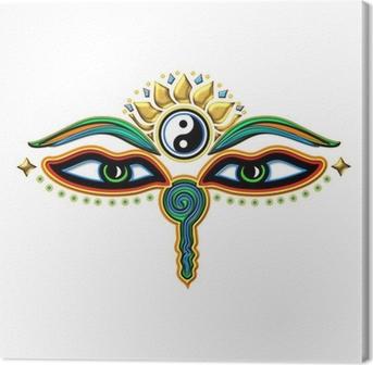 Canvastavla Buddha Augen Yin Yang