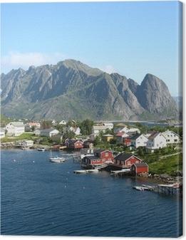 Canvastavla Cabanes rouges sv Norvège