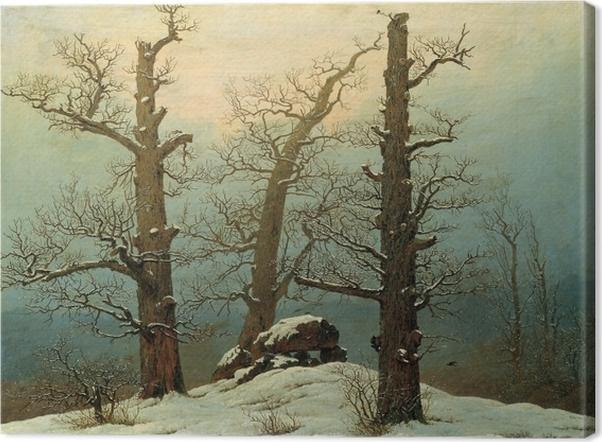 Canvastavla Caspar David Friedrich - Grafheuvel in de sneeuw - Reproductions