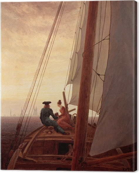 Canvastavla Caspar David Friedrich - Op een zeilschip - Reproductions