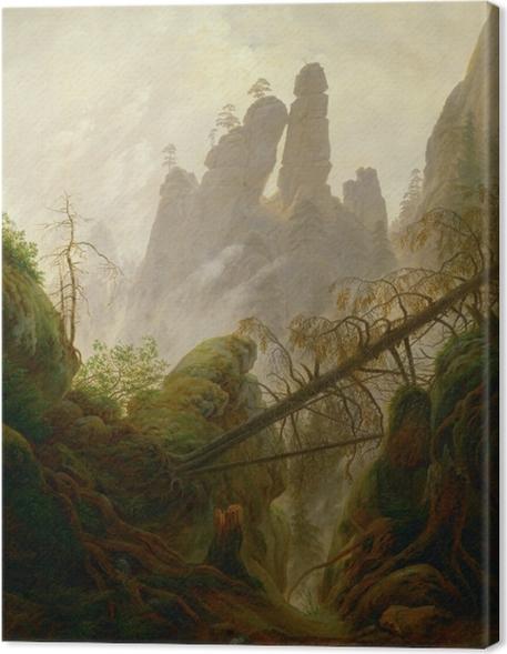 Canvastavla Caspar David Friedrich - Rotsig ravijn in het Elbezandsteengebergte - Reproductions