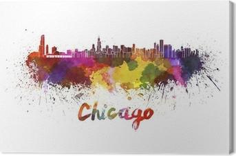 Canvastavla Chicago skyline i vattenfärg