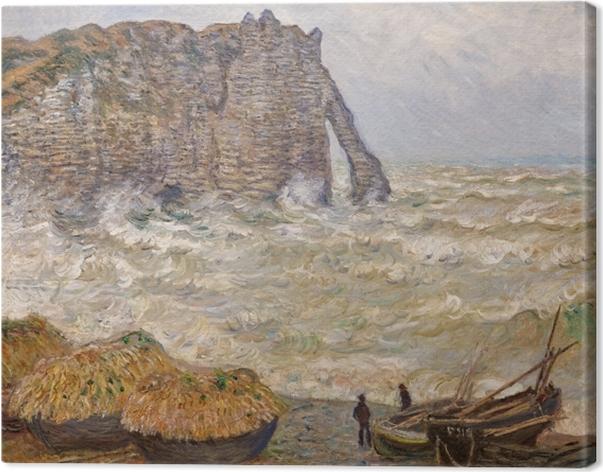 Canvastavla Claude Monet - Grovt hav vid Étretat - Reproduktioner