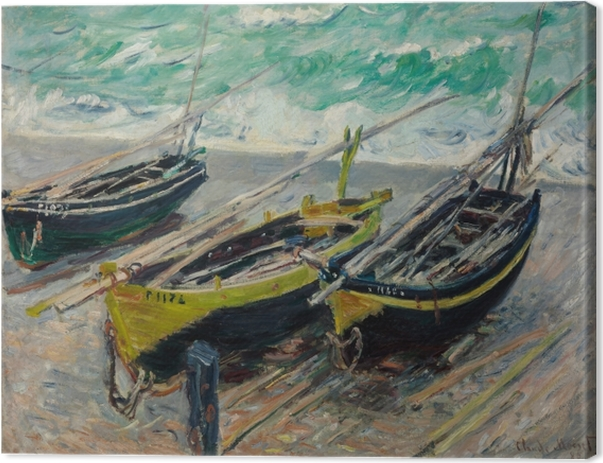 Canvastavla Claude Monet - Tre fiskebåtar - Reproduktioner