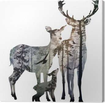 Canvastavla Deer Family
