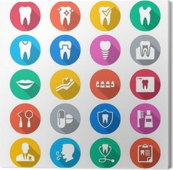 Canvastavla Dentala färg plana ikoner