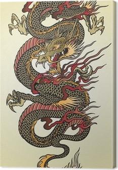 Canvastavla Detaljerad Asian Dragon Tattoo Illustration