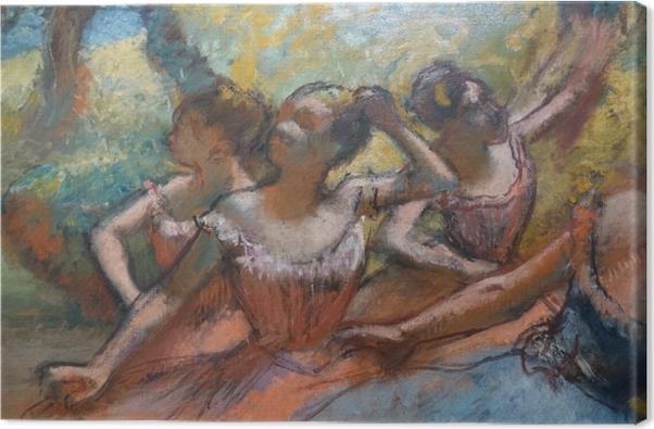 Canvastavla Edgar Degas - Fyra dansare på scenen - Reproduktioner