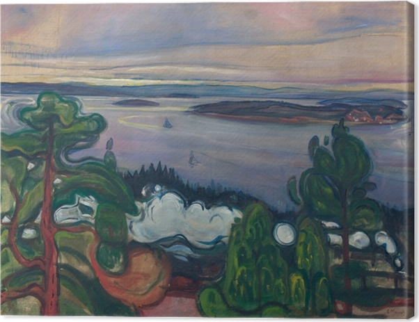 Canvastavla Edvard Munch - Röken från tåget - Reproduktioner