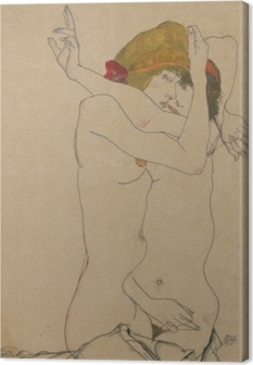 Canvastavla Egon Schiele - Två omfamnade kvinnor