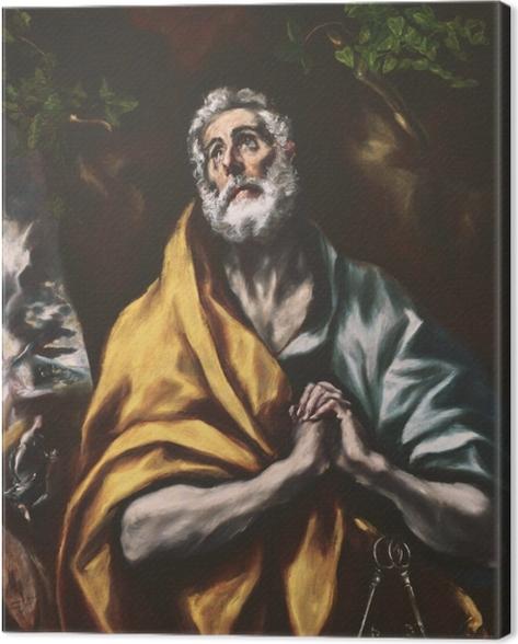 Canvastavla El Greco - Den ångerfulle Peter - Reproduktioner