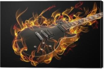 Canvastavla Elgitarr i brand och lågor