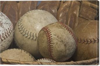 Canvastavla En korg av gammal baseball med en antik Glove