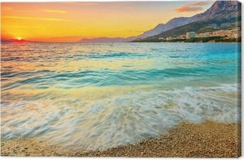 Canvastavla Fantastisk solnedgång över havet, Makarska, Kroatien