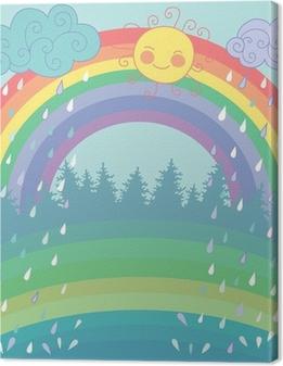 Canvastavla Färgrik bakgrund med en regnbåge, regn, sol i tecknad stil