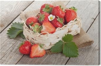 Canvastavla Färska jordgubbar i korg