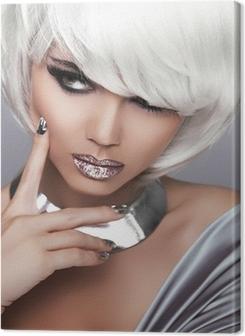 Canvastavla Fashion Blond Girl. Skönhet Porträtt Kvinna. Vit Kort hår. Sex