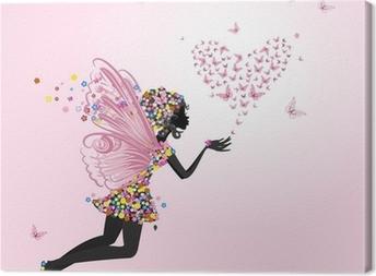 Canvastavla Fe med en valentine av fjärilar