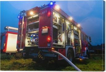 Canvastavla Feuerwehr im Einsatz mit Blaulicht