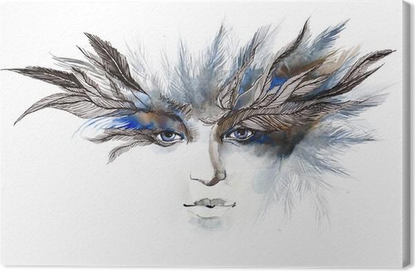 Canvastavla Fjädrar runt ögonen (serie C) - Mode