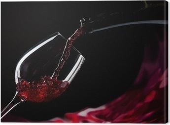 Canvastavla Flaska och glas med rött vin
