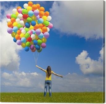 Canvastavla Flicka med färgglada ballonger