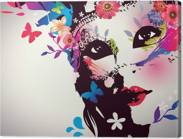Canvastavla Flicka med mask / vektor, Illustration - Mode