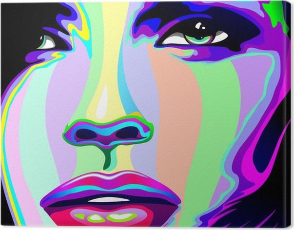 Canvastavla Flicka stående Psychedelic Psychedelic Rainbow-Face Girl -