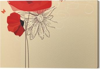 Canvastavla Floral inbjudan, vallmo och fjäril vektor