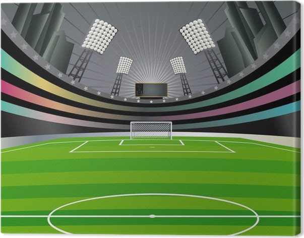 Canvastavla Fotboll backgriund med stadion. Vektor illustration. -  Utomhussport 81838b5842560