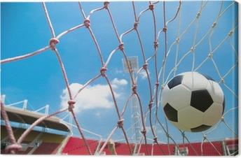 Canvastavla Fotbollsmål. Kroatien sjunker med en fotboll i ett nät ... 3ad54bd70322e