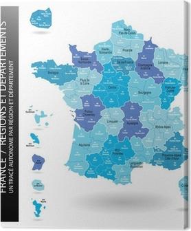 Canvastavla Vector Karta Over Frankrike Med Departement Och
