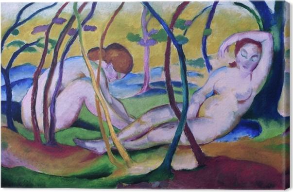 Canvastavla Franz Marc - Naakt onder de bomen - Reproductions