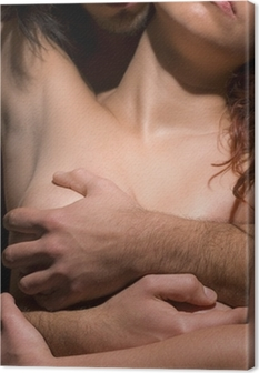 Canvastavla Frestelse kvinna och man