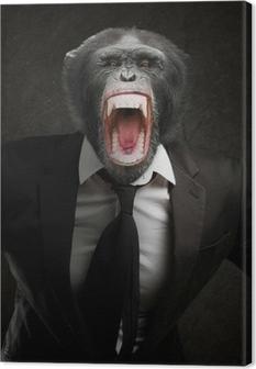 Canvastavla Frustrerad Monkey I kostym